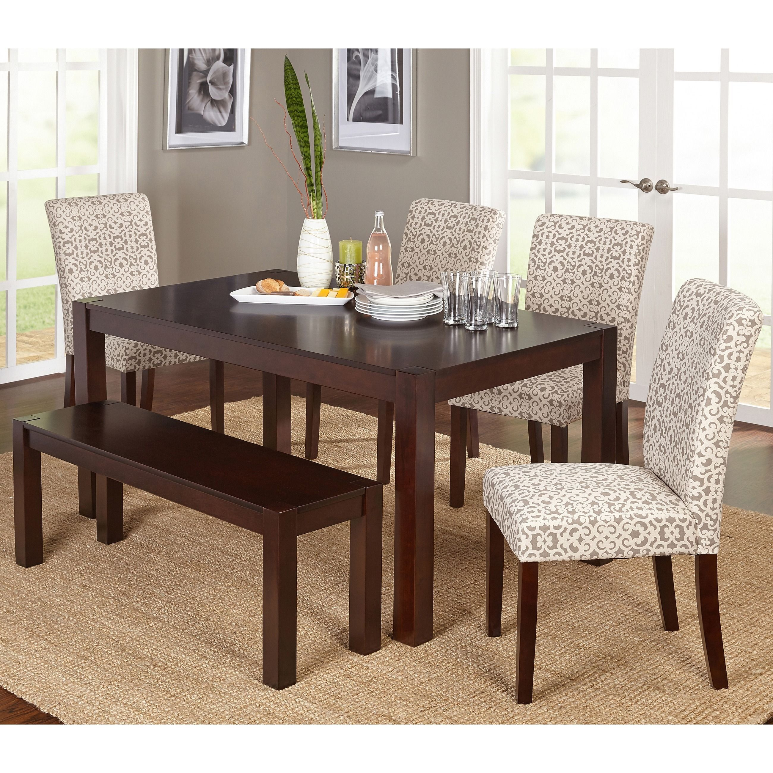 Simple Living Axis 6 Piece Dining Set With Dining Bench (Grey/Beige Print