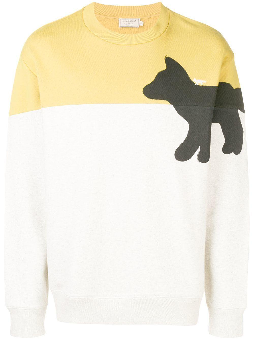 Maison Kitsune Sweatshirt With Walking Fox Print In Yellow Modesens Maison Kitsune Sweatshirts Fox Print [ 1334 x 1000 Pixel ]