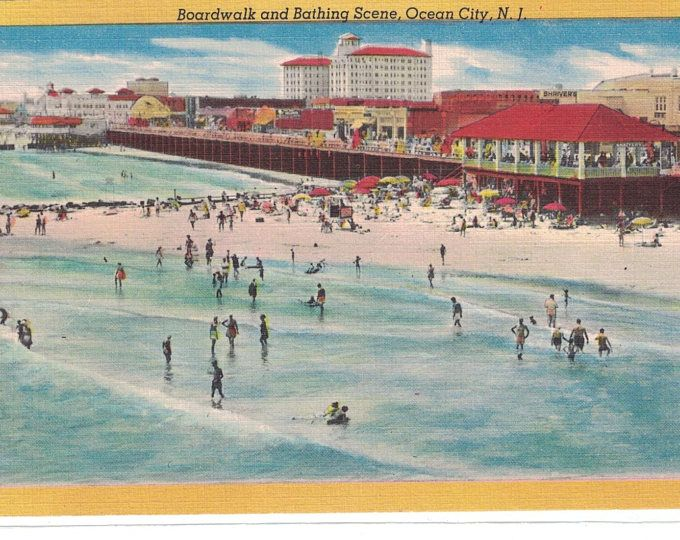 New Jersey Vintage Postcard Boardwalk And Bathing Scene Ocean City N J 1950s 1171 Ocean City Nj Ocean