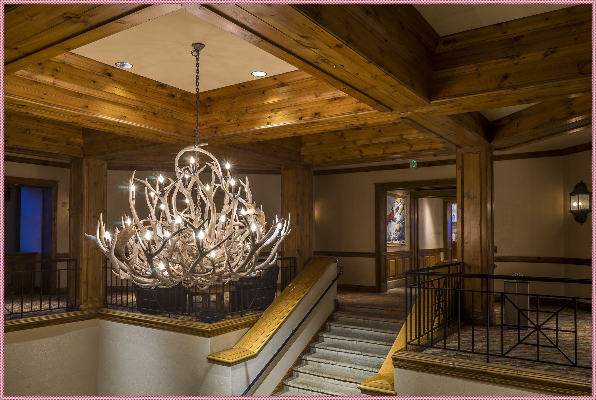 Lamps Antler Chandelier With Crystals Downlight Shades