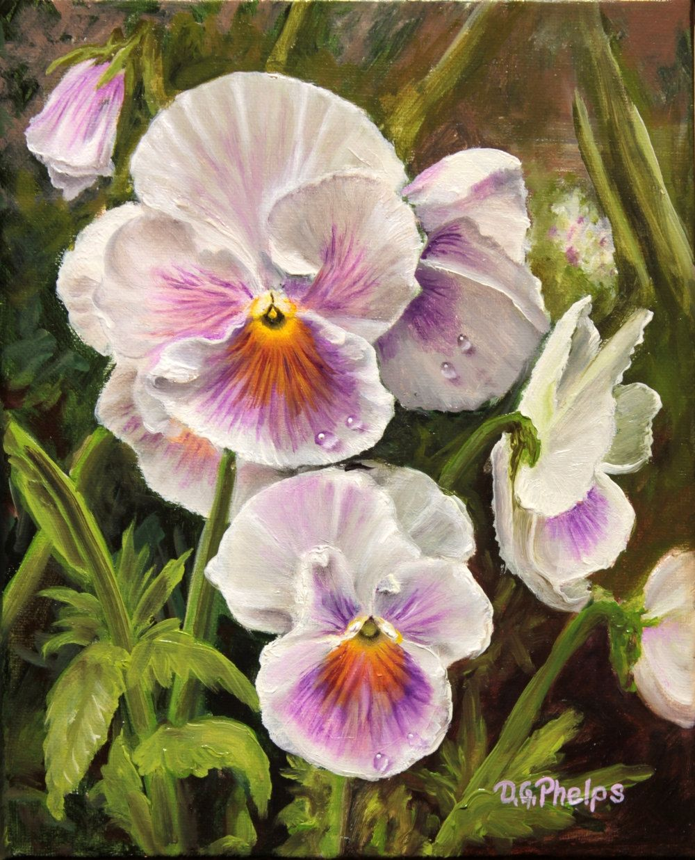Happy Art Serene Art Pansies Pansy Flower Painting Wedding Gift