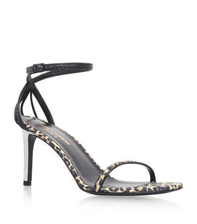 SAINT LAURENT Kate Leopard Sandals 80. #saintlaurent #shoes #