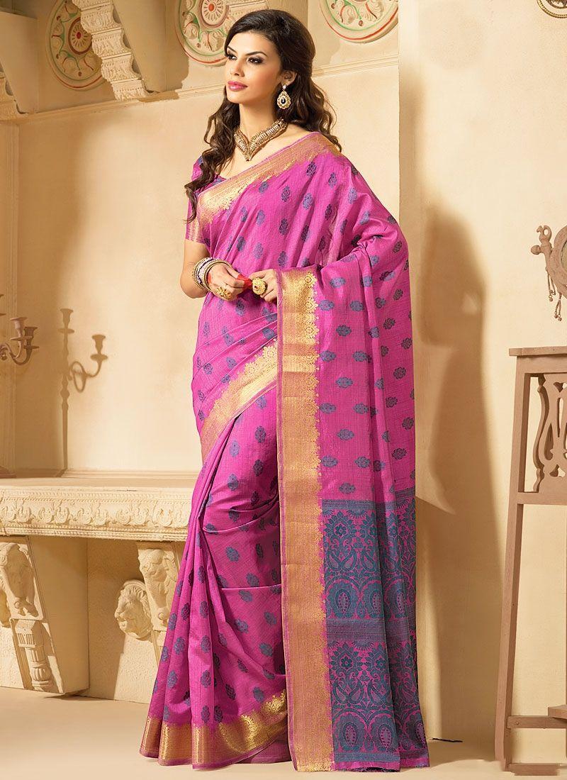 Honoured Hot Pink Kanchipuram Silk Sarees