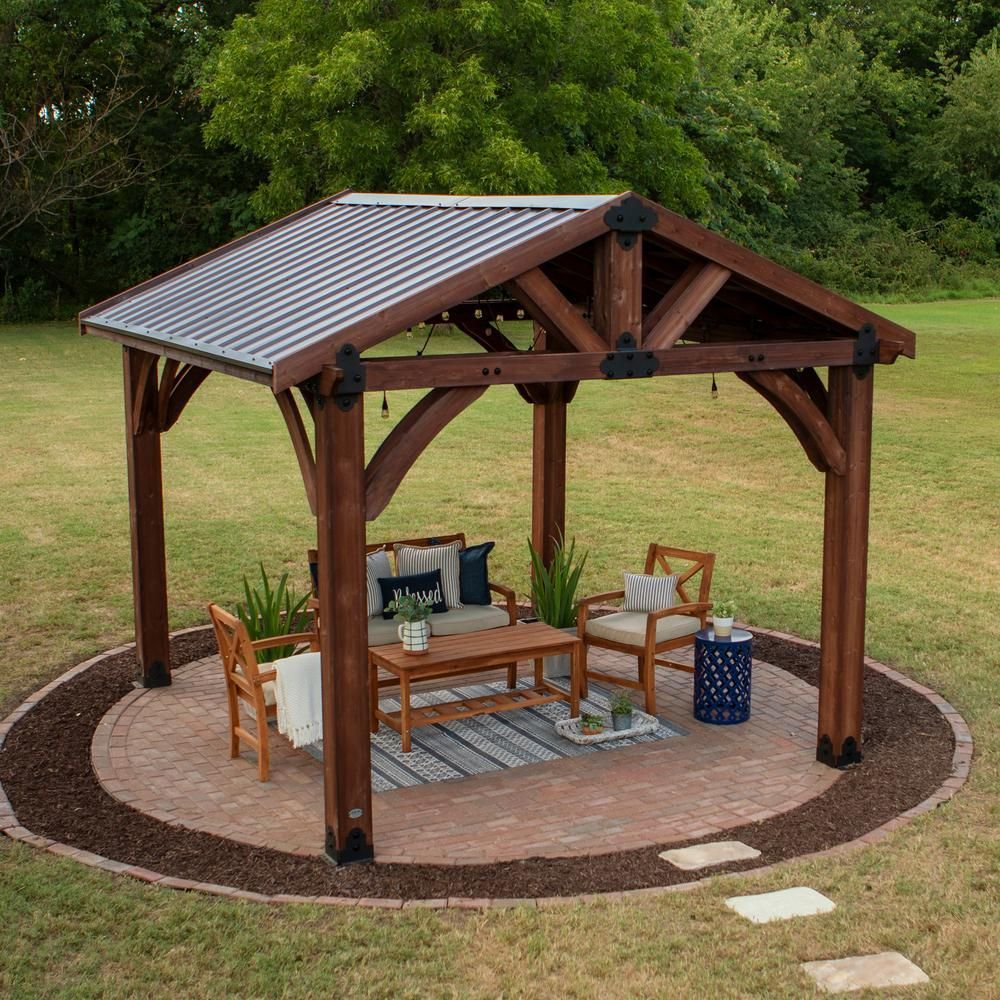Backyard Discovery Sonora 12 ft. x 12 ft. Premium Cedar ... on Backyard Discovery Pavilion id=11559