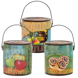 CWI Gifts - 3/Set, Farm Fresh Bucket Candles