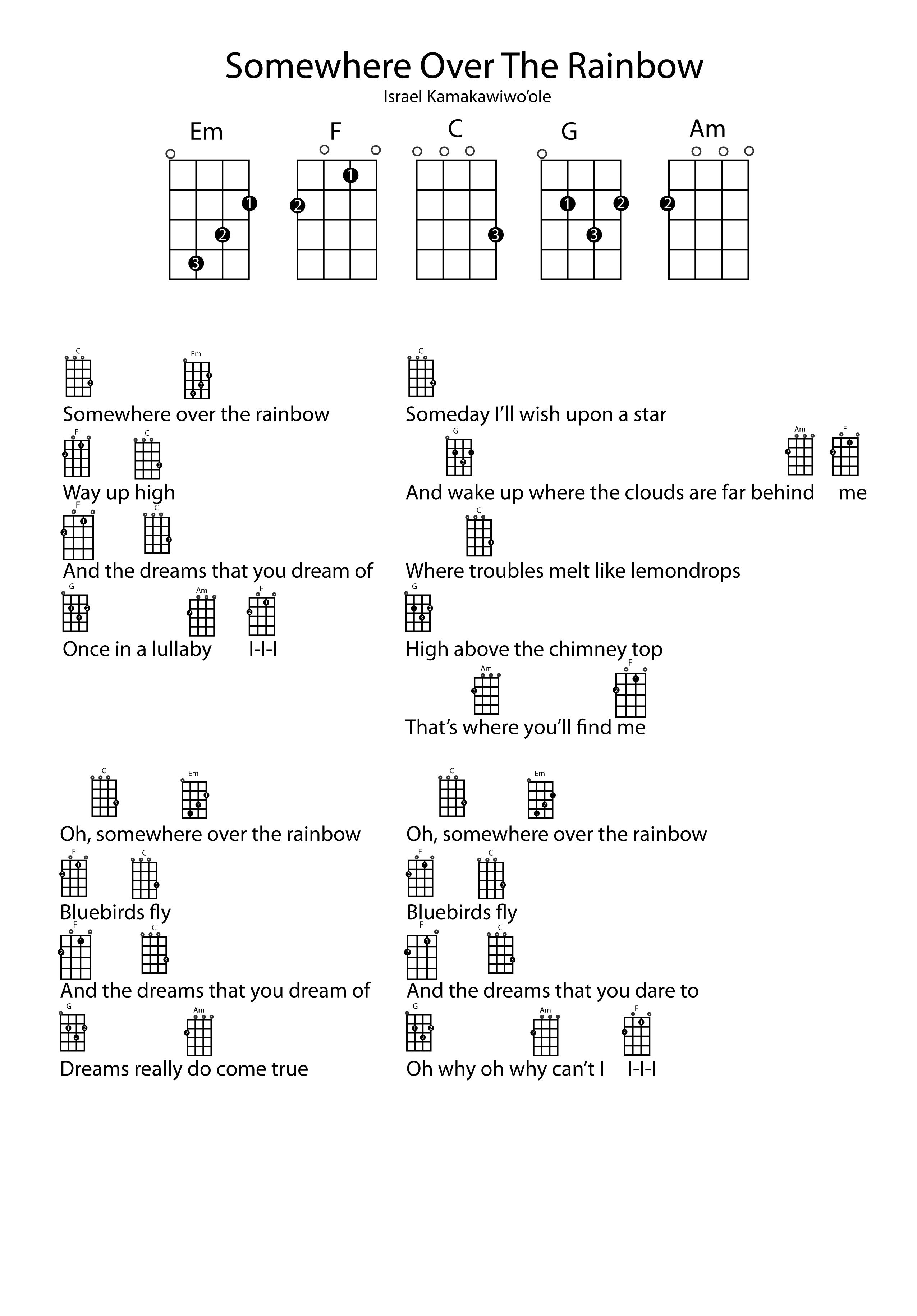 How To Play Over The Rainbow On Ukulele : rainbow, ukulele, Somewhere, Rainbow.jpg, (2551×3661), Ukulele, Songs, Beginner,, Songs,, Chords