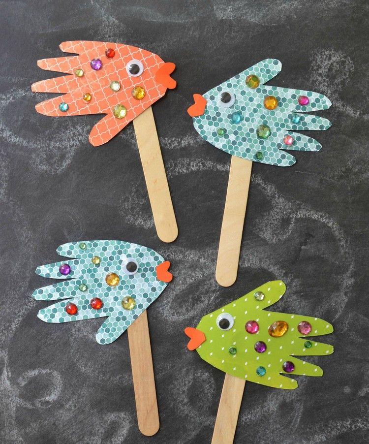 Basteln Mit 2jährigen Kindern Handabdrücke Papier Fische