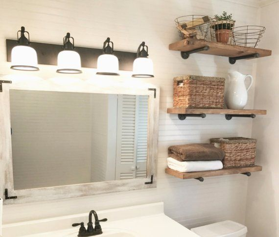 Farmhouse Shelves Above Toilet