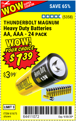 Thunderbolt Heavy Duty Batteries For 1 39 Harbor Freight Coupon Harbor Freight Tools Coupons