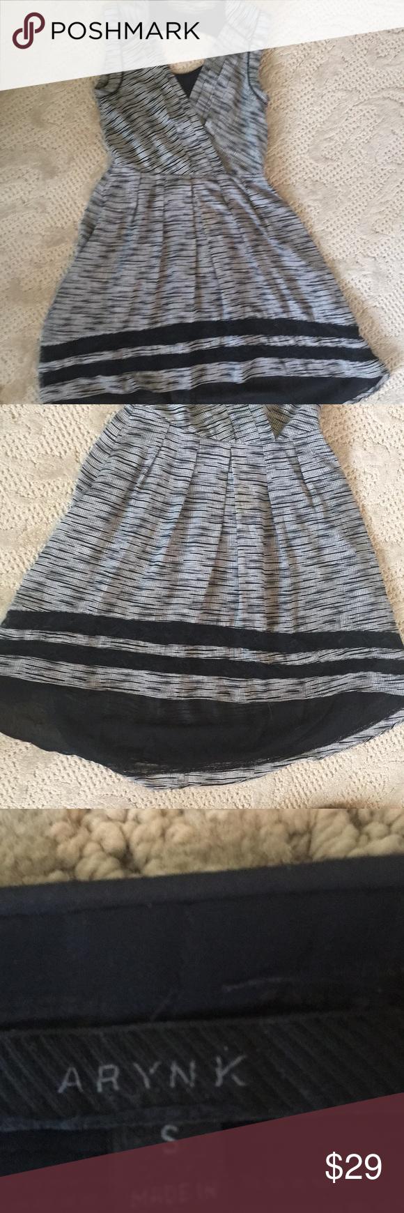 Aryn K lace trimmed dress VGUC. Open back. Surplice neckline. Pleated skirt with longer, rounded hem in back. Aryn K Dresses Asymmetrical