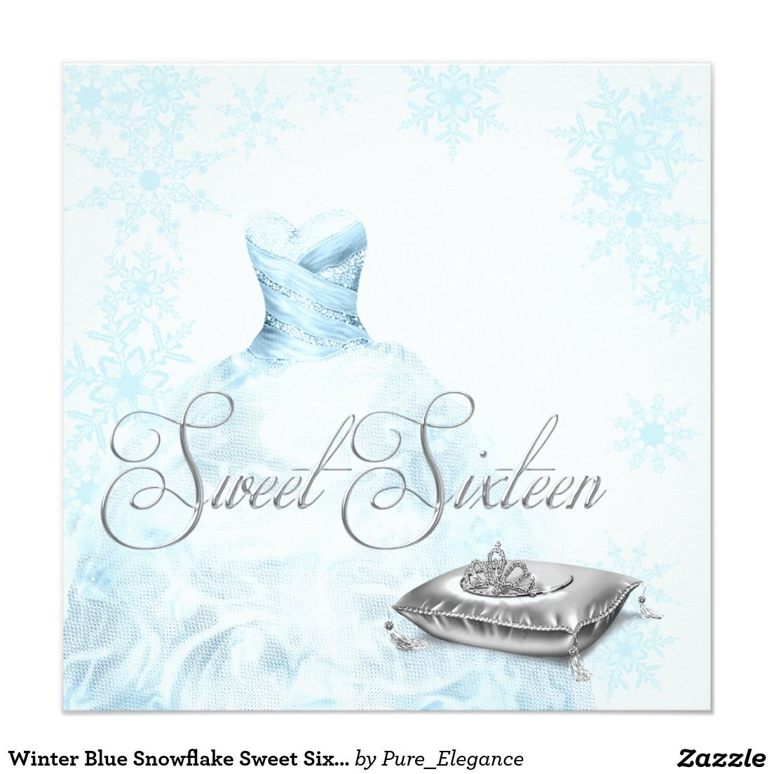 Winter Blue Snowflake Sweet Six Party Invitation