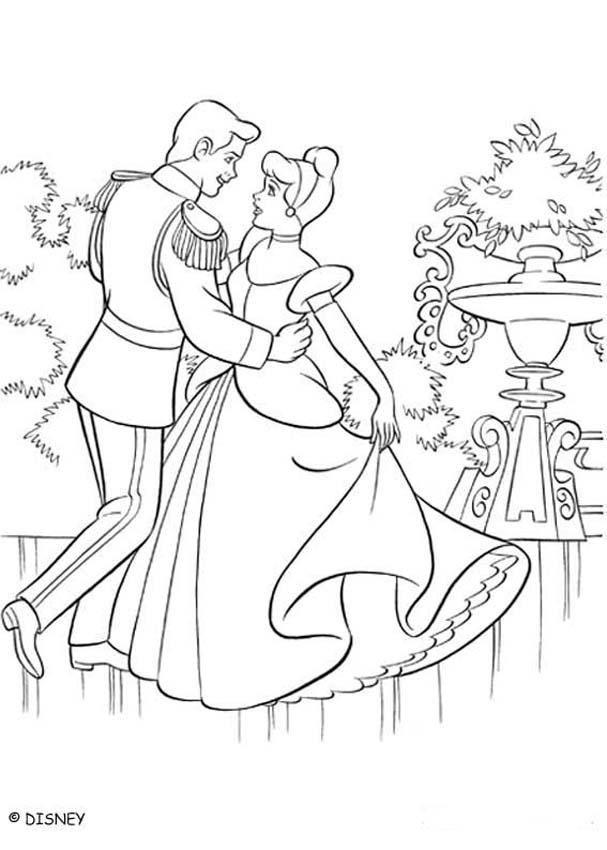 Coloriage Princesse Qui Danse Avec Prince.Un Beau Coloriage De Cendrillon Dans Sa Belle Robe Entrain De Danser
