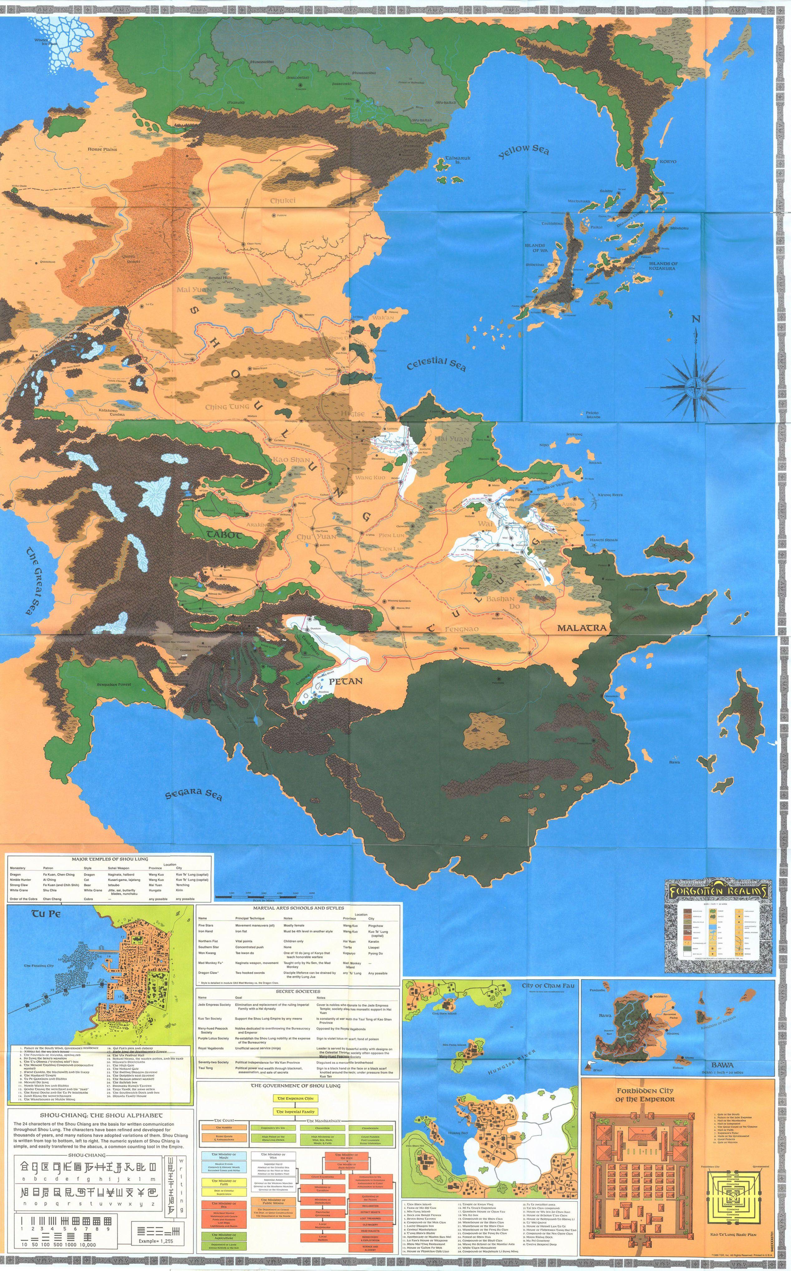 Kara-Tur Toril Dungeons and Dragons Map Fantasy Forgotten ...