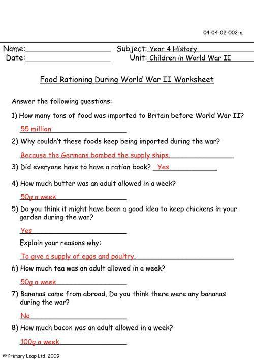 Primaryleap Food Rationing During World War Ii Worksheet