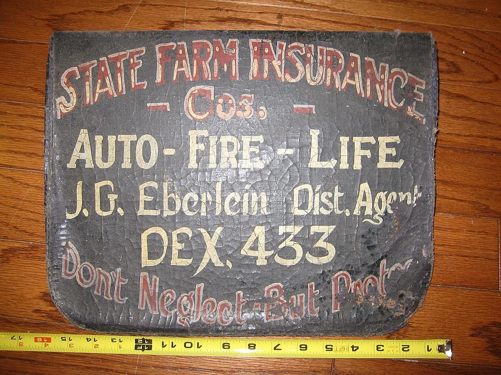 Vintage Painted Insurance Trade Sign State Farm Advertisement Auto Painting Leather State Farm Insurance Trade Sign