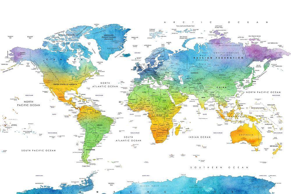 Carte Du Monde A Imprimer Format A4 Avec Images Carte Du Monde