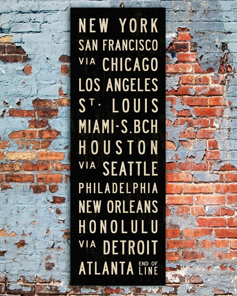 Subway Sign Art. Tram Scrolls. United States Canvas Bus  sc 1 st  Pinterest & U.S. Art Home Wall Decor USA Poster Subway Sign Artwork For Home ...