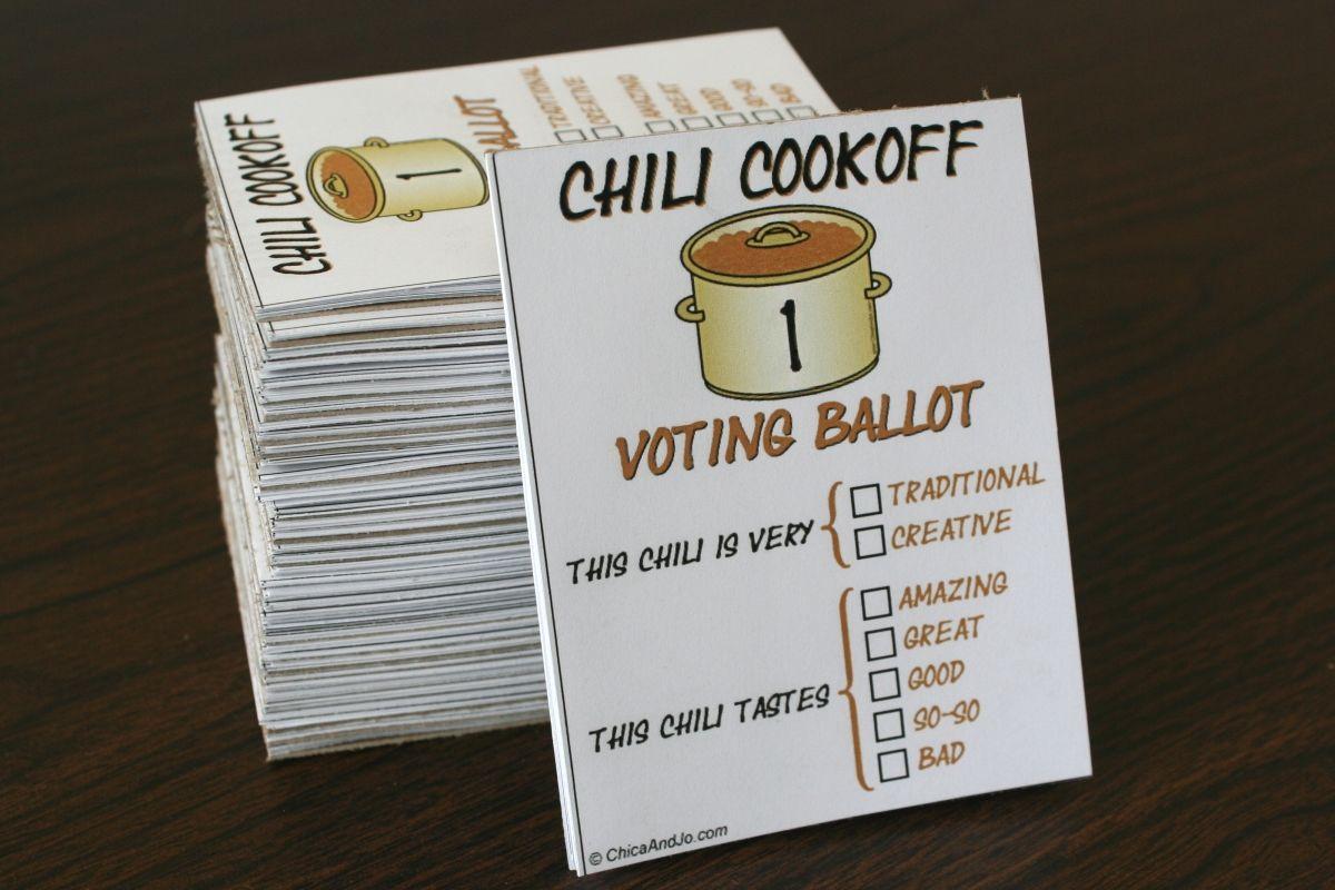 Chili Cook-Off Voting Ballot
