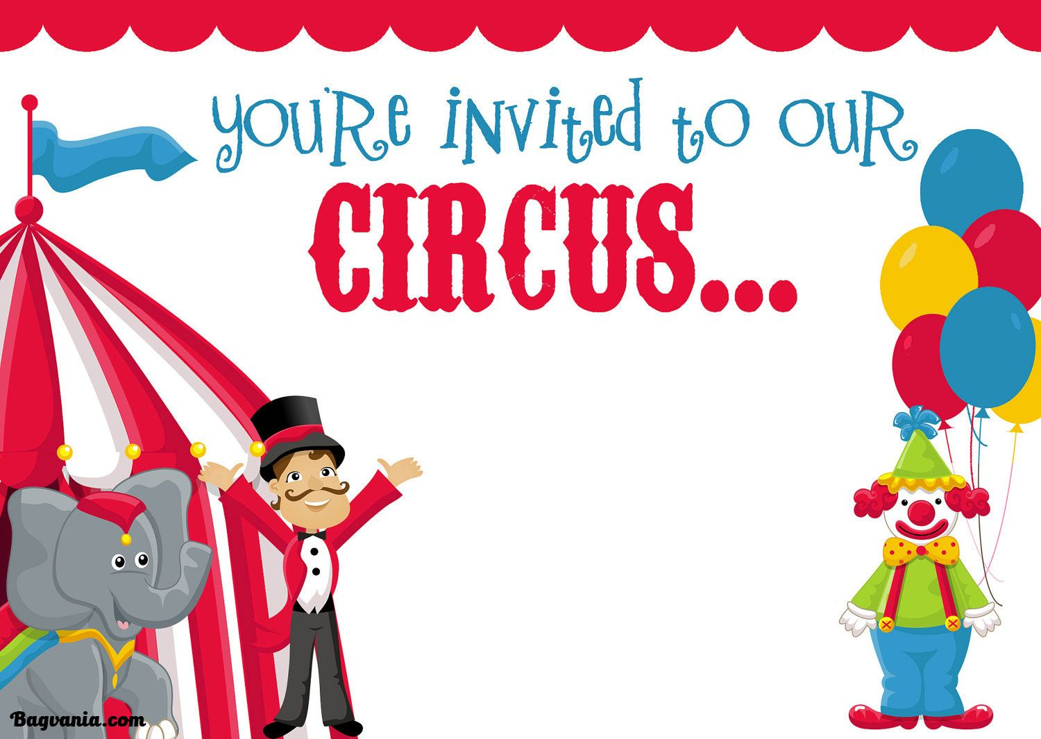 Cool Free Printable Circus Birthday Invitations Template  Circus