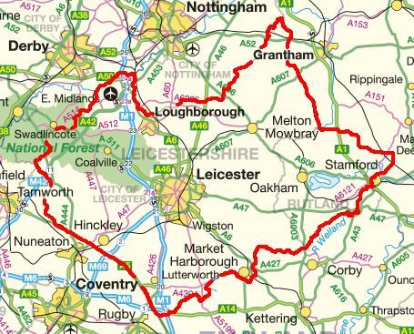 map of leicestershire county east midlands region of england uk leicestershire mapjpg 455367