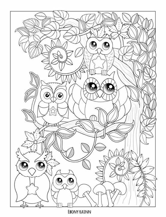 Beautiful Owl Coloring Page From Autumn Falls By Ebony Rainn The