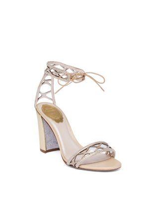 58b5410f628 RENÉ CAOVILLA Crystal   Suede Ankle-Tie Block-Heel Sandals.  renécaovilla   shoes  sandals