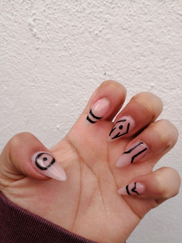 Sukuna Nails In 2021 Anime Nails Retro Nails Edgy Nails