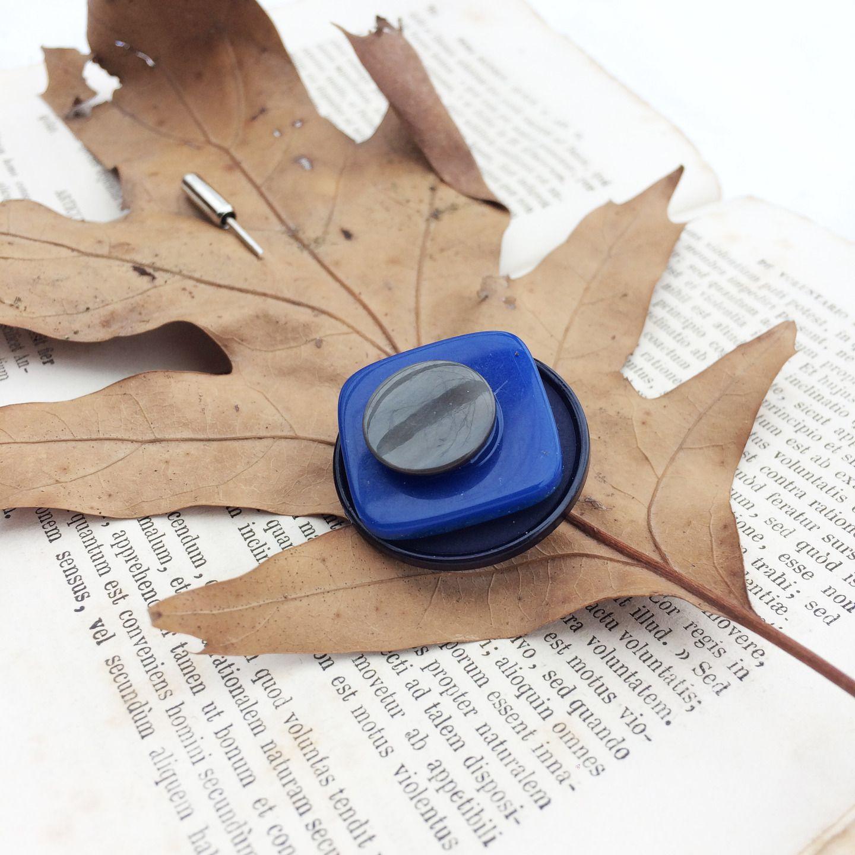 in vendita comprare bene più economico Spillone geometrico Blu e Grigio Spilla da sciarpa ...