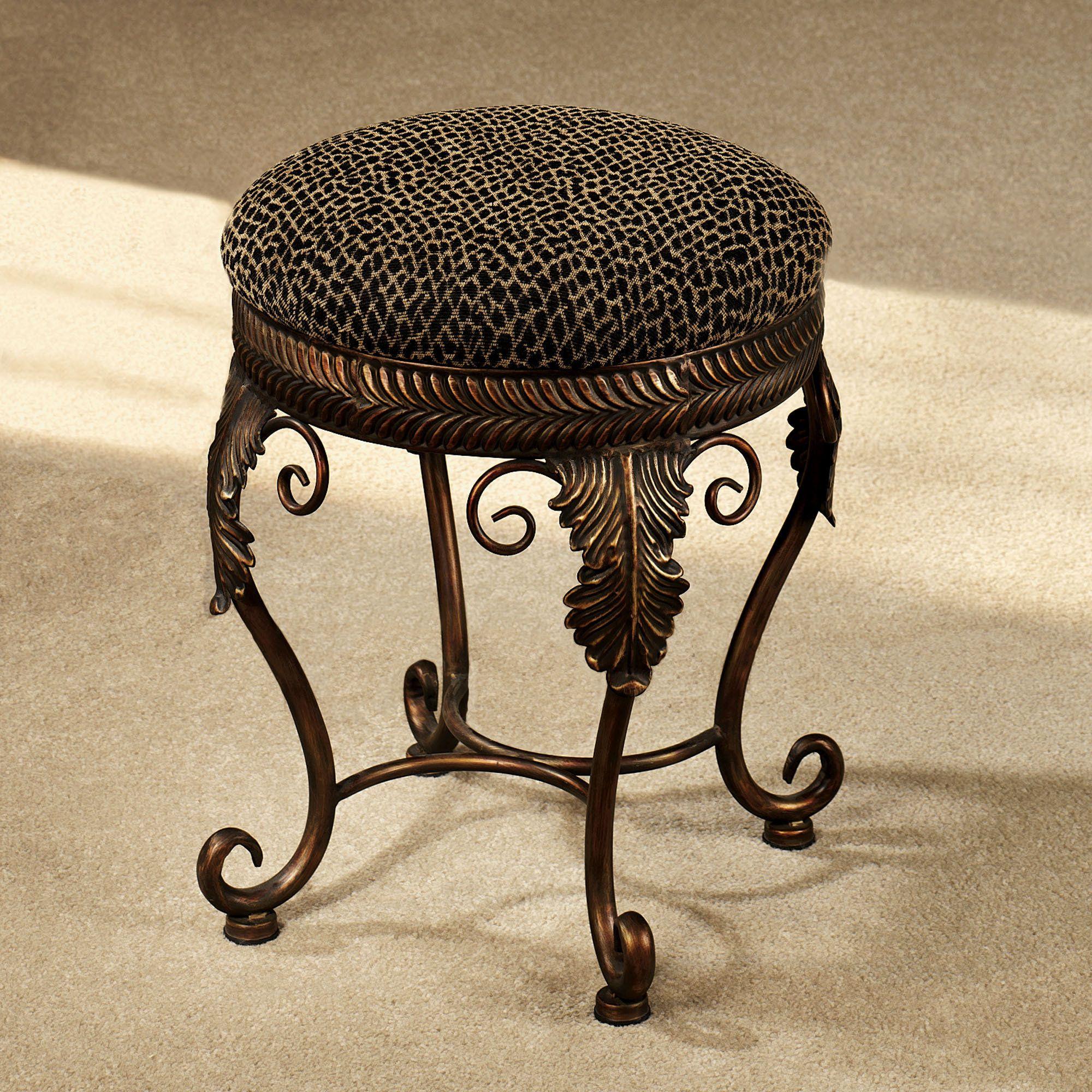 Elegant African Upholstered Bathroom Vanity Chairs Pattern Design With  Copper Leg Design