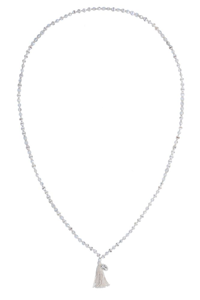 White Lined Agate Mix Cotton Cord Necklace - Chan Luu