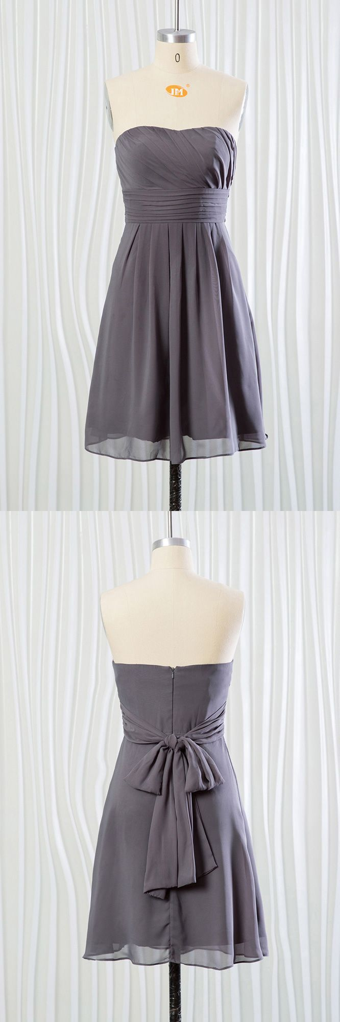 Strapless short grey bridesmaid dress in chiffon for summer wedding