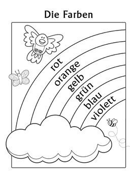 german coloring pages for kids - die farben german colors rainbow coloring page idioma