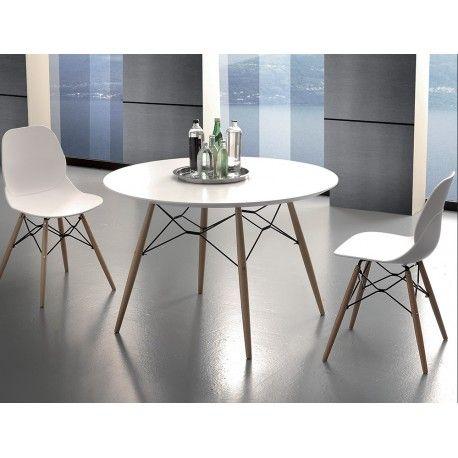 tavolo tondo stile scandinavo con gambe in faggio e piano bianco ...