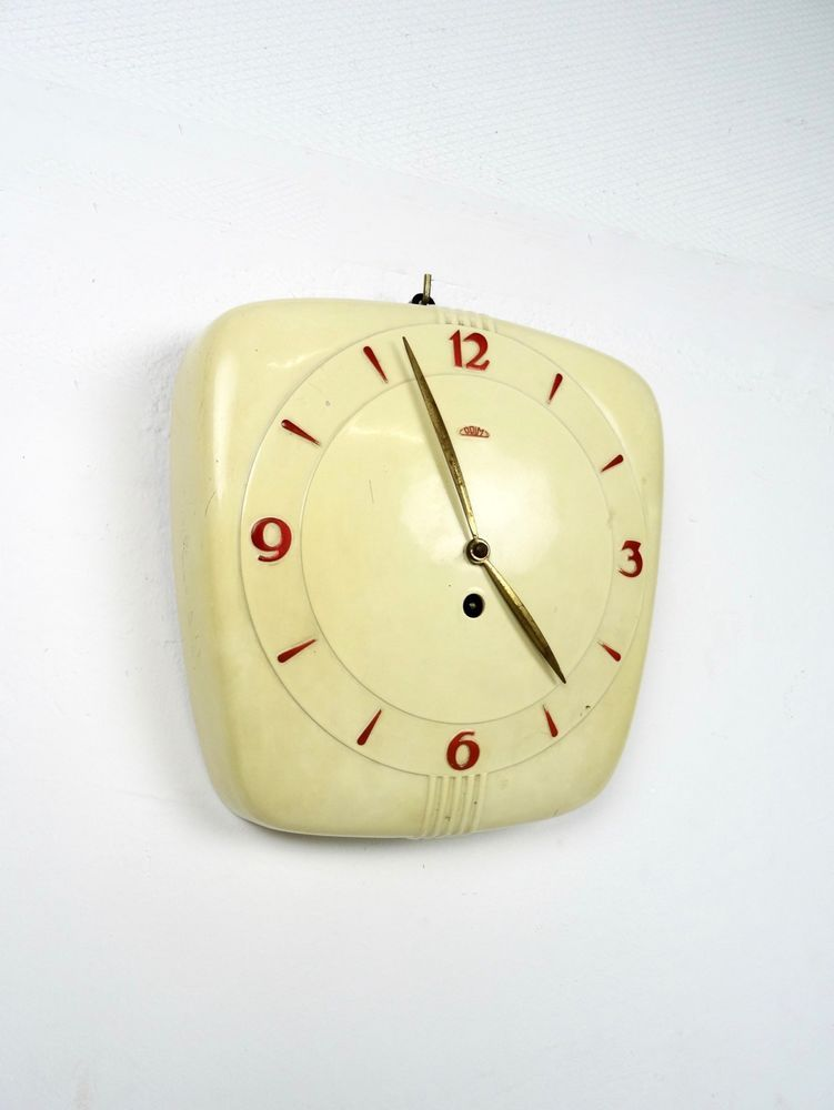 Rare Prim Bakelite Bauhaus Wall Clock 1930 Art Deco Machine Age 30s Working Art Deco Clock Vintage Wall Clock Art Deco