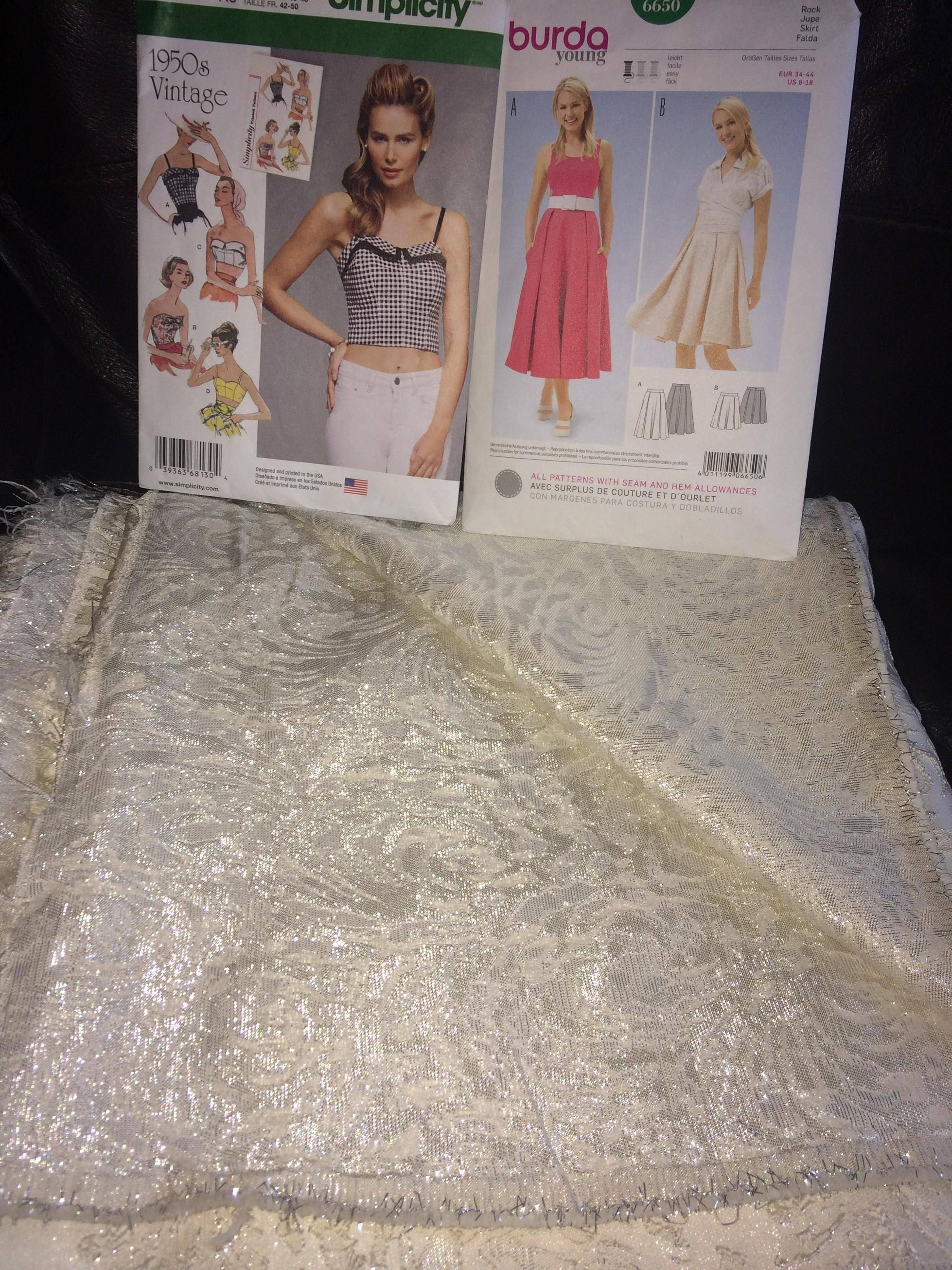 Simplicity 8130 Burda 6650 My Wedding Dress Fabric And The Two Patterns I