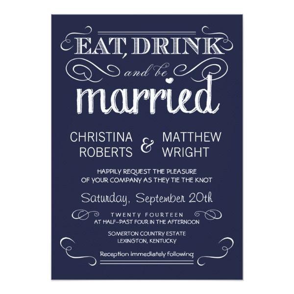 North Carolina Farm Wedding Kiersten Sam: Rustic Typography Navy Blue Wedding Invitations