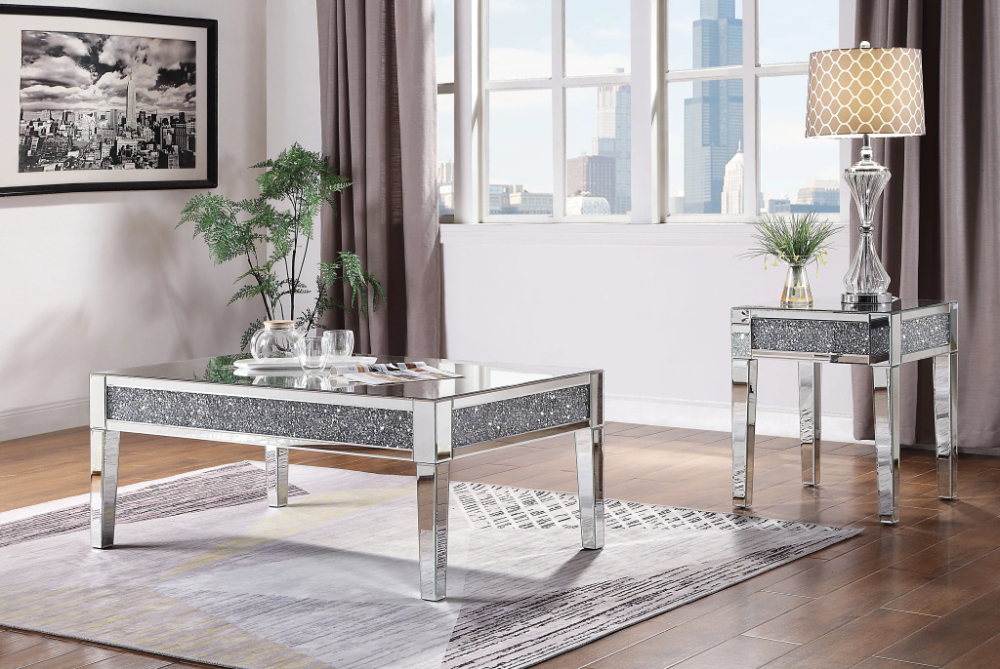 Acme Noralie Mirrored Gloss Finish 3 Piece Coffee Table Set