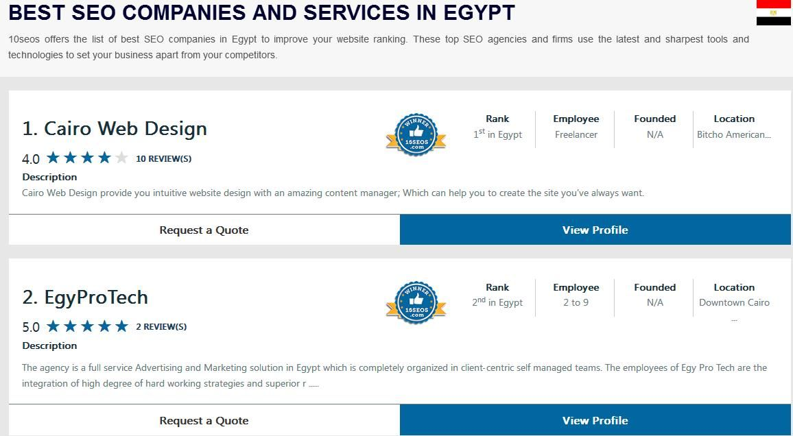 Ratings Reviews Of Best Seo Companies Agencies In Egypt