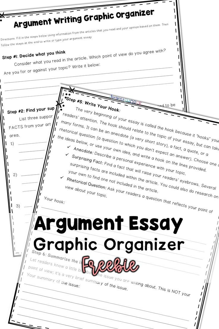 Argument Essay Graphic Organizer and Outline Great for