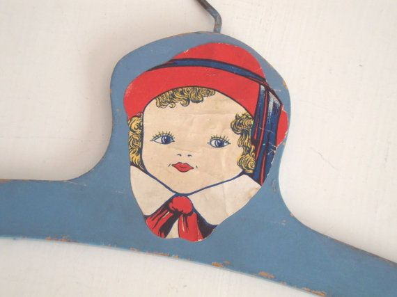VINTAGE Blue Childs CLOTHES HANGER  Paper Decal by IWANTVINTAGE, $12.00