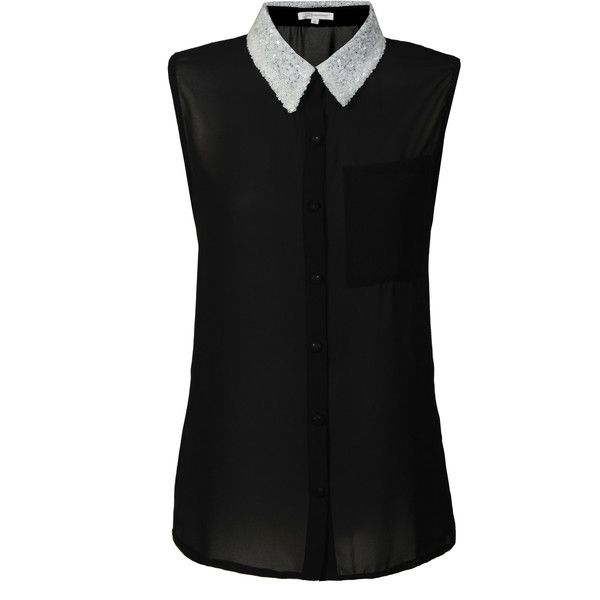 a694dda0a38c Black Sleeveless Top with White Sequin Collar (1,600 PHP) found on Polyvore