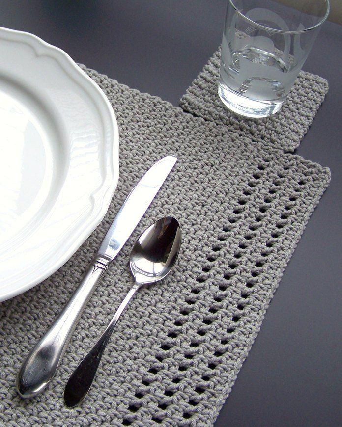 Projet de crochet Simply Elegant Set de table et sous-verres par Melanie Rice   – Crochet And Knitting