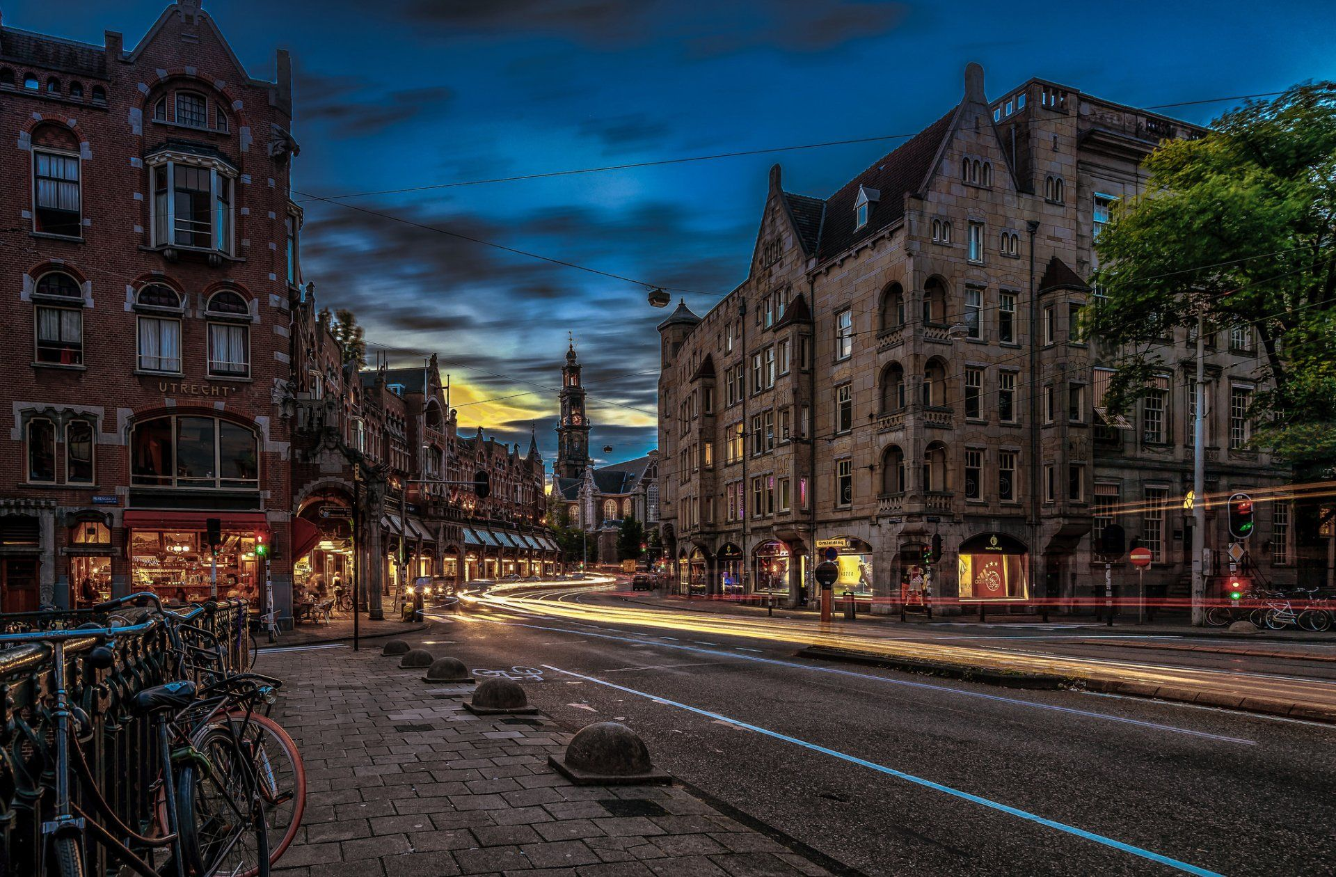 Man Made Amsterdam Netherlands Night City Road Building Time Lapse Wallpaper