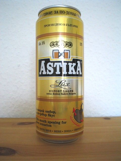 Astika Brewery - Astika Lux 5,0% 50cl tölkki 1/2 Terolla, Teron kanssa 4.9.2004 Saijan tuliainen BULGARIA