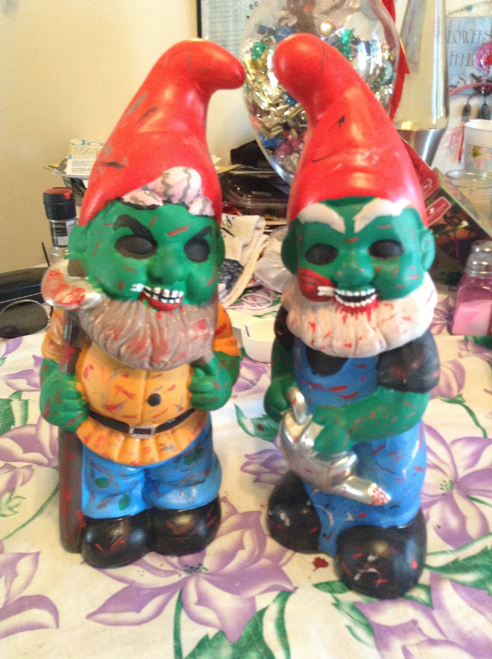 My zombie lawn gnomes I made!