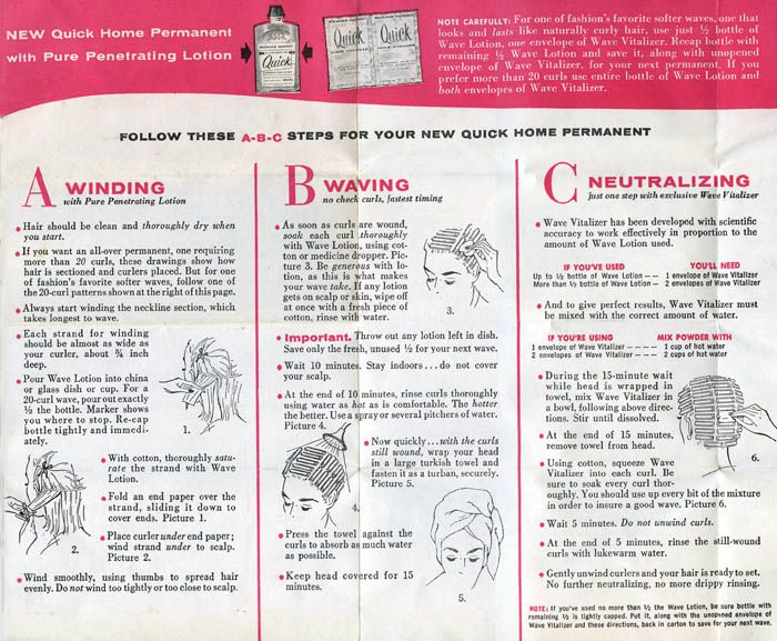 Richard Hudnut Quick Home Permanent 1956 These Instructions Show