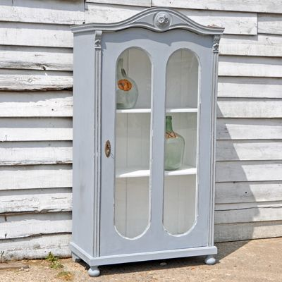 Antique Painted Glass Fronted Cabinet #antique #homebarn #storage