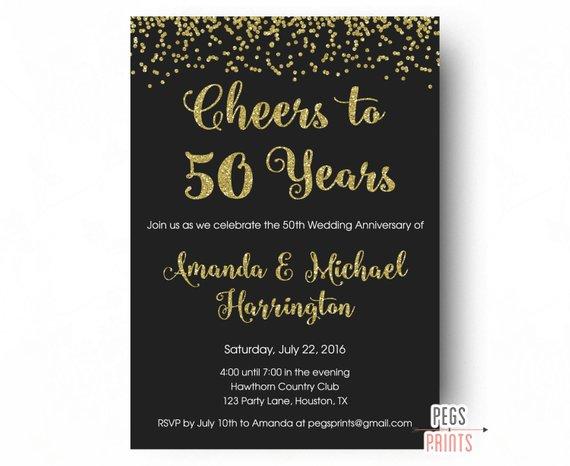 Cheers To 50 Years Invitation 50th Anniversary Invitation Prin 50th Wedding Anniversary Invitations Wedding Anniversary Photos 50th Anniversary Invitations
