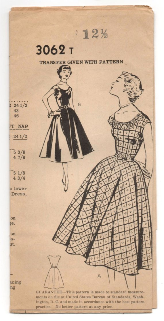 13c3600016 1950 s Mail Order One-Piece Scoop Neck and Full Skirt Dress Pattern - Bust  31