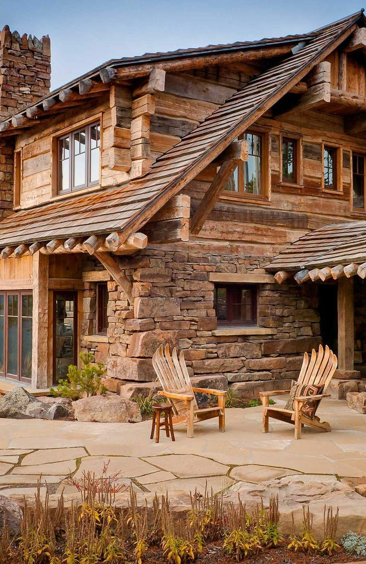 Dancing hearts montana patios cabin and house for Wood cabin homes